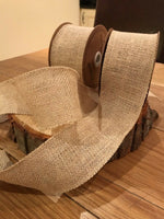 Natural Hessian Ribbon, quality Jute/Burlap 70mm, wired Neat Edges, by the meter