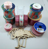 Flamingo Wreath Craft Bundle Pink Burlap Pattern Ribbon Flamingo Wooden Cutouts