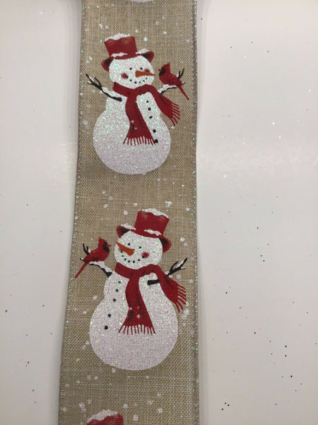 "10 Yds -2 1/2"" Wired Snowman With Cardinals Faux Linen/burlap Christmas Ribbon"
