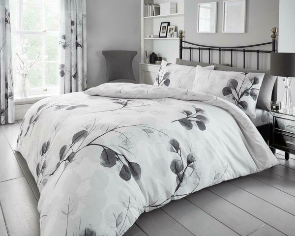 Honesty Leaf Duvet Quilt Cover & Pillow Case Bedding Set Grey