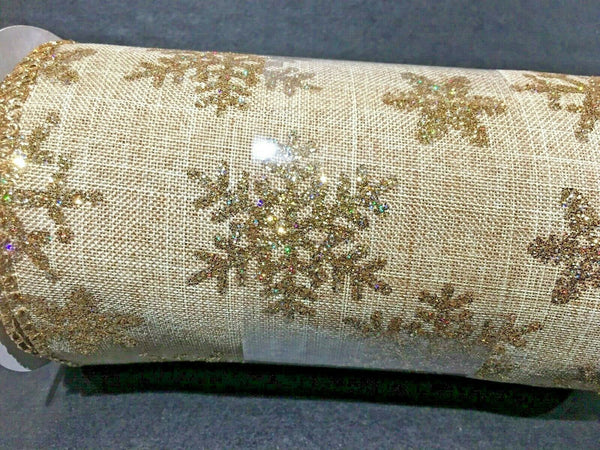 "Celebrate It Extra Wide Gold with Glitter Snowflake Ribbon 5 1/2"" W - 6 yds New"