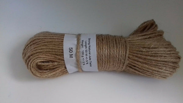 2 Ply Natural Brown Jute Hessian Burlap Twine Rustic String Cord Cord 50M Meters