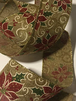 "Burlap with Poinsettia Holly Berry WIRE EDGED RIBBON 2-1/2"" x 5 Yards"