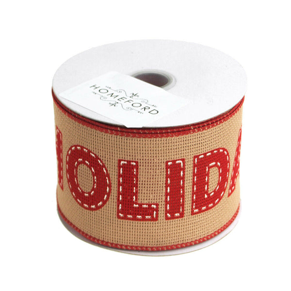 """Happy Holidays"" Faux Burlap Christmas Ribbon Wired Edge, 2-1/2-Inch, 10 Yards"