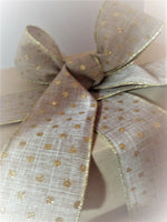 GLITTERY GOLD POLKA DOT on Burlap/Linen style - Luxury Wire Edged Ribbon