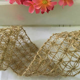 Christmas Wedding Decors Burlap Natural Wired Hessian Lace Ribbon Vintage Style