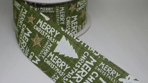 "Sparkling ""Merry Christmas"" burlap ribbon 40mm. Red or Green - sold by the metre"