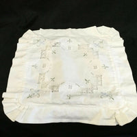 "Vintage HAND-EMBROIDERED Baby Pillow Case / Back Cushion Cover•13""x13""•White•EVC"