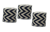 "3 Pack Burlap Ribbon With blue Chevron 5"" X 15 feet Ivory jute-burlap 45ft TTL"