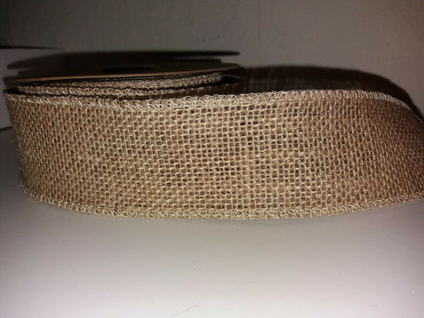"1 yard - (3"") 70mm wide WOVEN EDGE NATURAL RUSTIC HESSIAN JUTE BURLAP RIBBON"