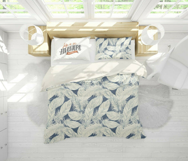 3D Retro White Feather Quilt Cover Duvet Cover Comforter Cover Pillow Case 55