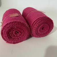 "Jute Burlap Set Of 2 Ribbon Roll Pink Unwired Finished Edge 5.5"" x 30'"