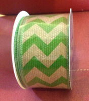 Chevron Burlap Green 2.5'' X 10 Yards Natural Tone for Wedding, Gift wrap