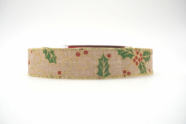 1-1/2in 10YD Christmas Holly Leaf Burlap Ribbon for Gift,Floral,Craft Use