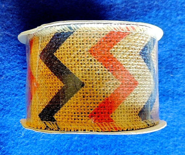 "1 Roll Wired Burlap Ribbon w/ Red & Blue Zig-Zags 2-1/2"" x 15ft (6.3cm x 4.6m)"
