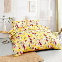 DaDa Bedding Sunshine Yellow Hummingbirds Floral Duvet Cover Set w/ Pillow Cases