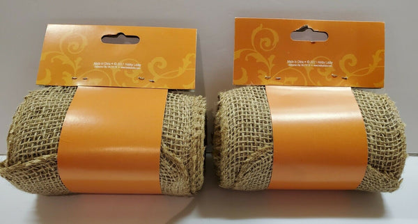 2 packages Burlap Ribbon 5.5 Inches Wide × 15 Feet Long Each For Crafts & Decor