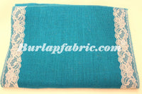 "Colored Burlap Table Runner 14"" x 90"" with 2"" WHITE Lace Borders"
