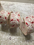 "5 Yds Of 2 1/2"" Wired Faux Burlap Christmas Ribbon With Red Glittered Cardinals"