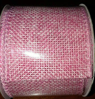"Pink Burlap Wired Ribbon Jute 2""w X 9' Long (108""L) New on roll, Crafts, Wreaths"