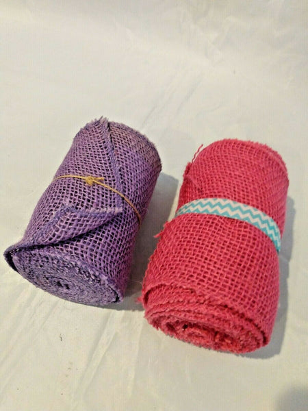 Lot of 2 Purple and Pink Burlap Ribbon 100% Jute 5.5 in x 15 ft Each 30 ft Total