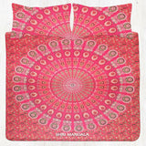 Red Pink Peacock Mandala Bedding Set KING Size Flat Bed Sheet Pillow Cases