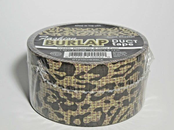 New Fashion Burlap Duct Tape Black Cheetah 1.88 in x 10 yds