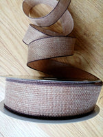 "Luxury Brown Jute Hessian Burlap Quality Wire Edged Ribbon 2.5"" Wide or 1.5"""