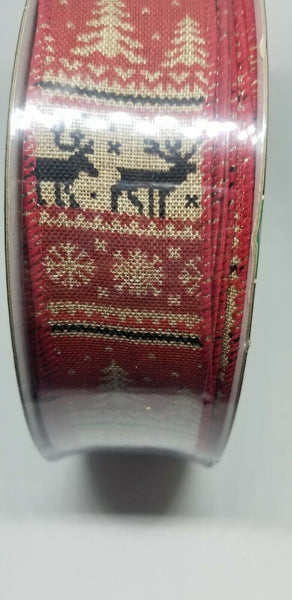 Faux Burlap Rustic Christmas Reindeer Scene Wire Edged Ribbon 50 yards X 1.5
