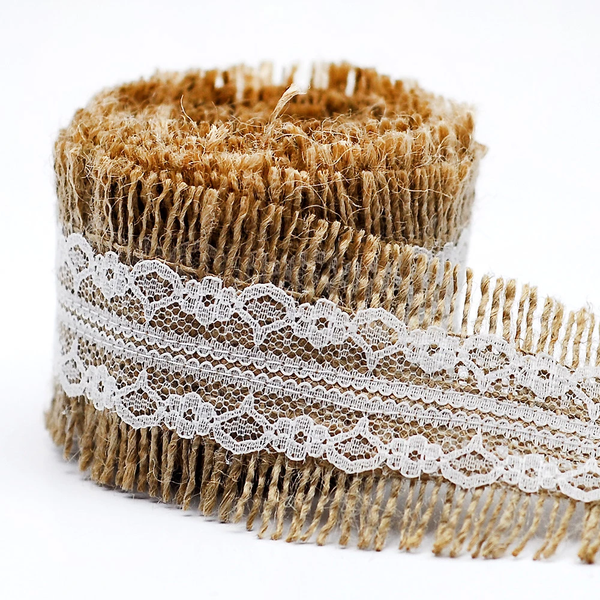 2 meters (2.18 yards) fringe edged burlap ribbon roll with lace, 6 cm (2.36 inch