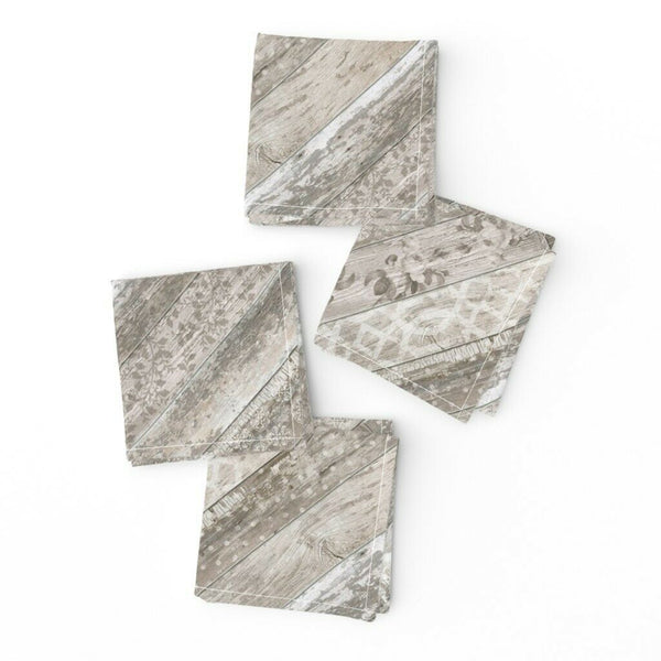 Cocktail Napkins Shabby Chic Flooring Moroccan Ornamnet Spanish Mexican Set of 4