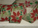 Christmas Wide Burlap Jute Red Poinsettia Flower Wired Ribbon Crafts Decor 1m