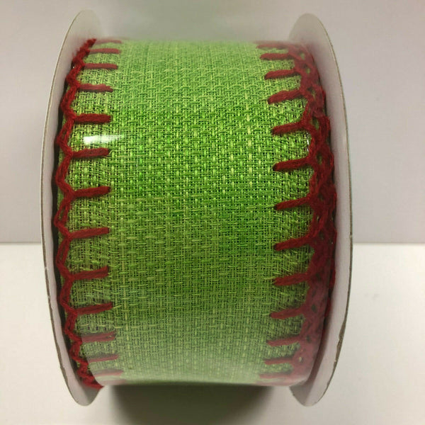 "Expressions Green Red Stitch 2.5"" Wired Ribbon 10 Yards Burlap Look Crafters"