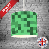 Handmade Lampshade MINECRAFT Inspired Blue Floor Lamp Ceiling Shade Room Decor