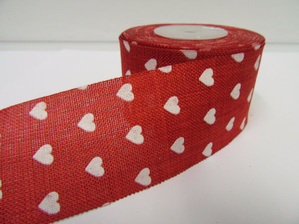 2 metres or Full Roll 25mm 38mm Vintage Hessian Heart Ribbon 25 38 mm Jute