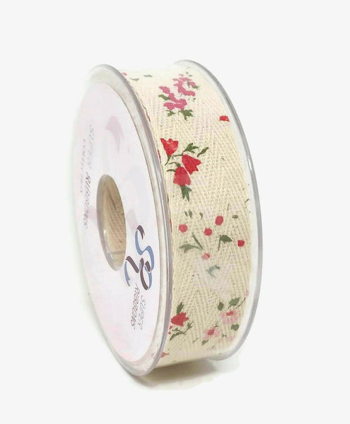 Natural Burlap Floral Print Ribbon Roll - 25mm x 10m - Rustic Country Style
