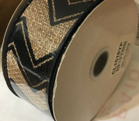 "Ribbon 1 1/2"" Black And Tan Chevron Burlap Wired Edge NWT"