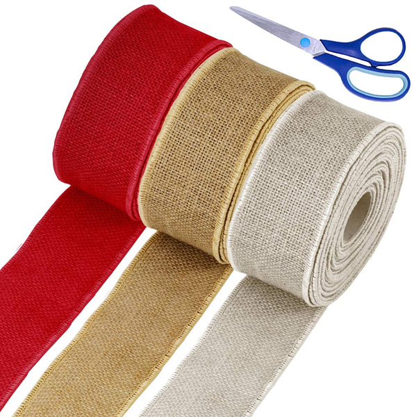 "Supla 30 Yards 2.5"" Wide Christmas Natural Red Natural White Jute Burlap Wired R"