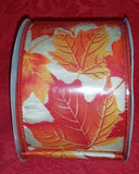 FALL WIRED RIBBON- AUTUMN - HARVEST - LEAVES - GOURDS - THANKSGIVING - U CHOOSE