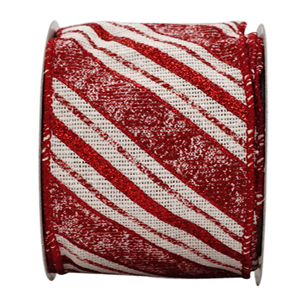 2-1/2in 10YD Red Glitter Stripe Burlap Ribbon for Gift, Floral, Craft Use