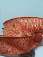 25 Yards Orange Burlap Polyweave Wired Edge Ribbon 1 .5 Inch