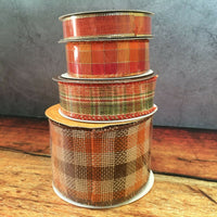 Hobby Lobby Set of 4 Fall Autumn Plaid Burlap Ribbon Rolls Wired Edge NEW