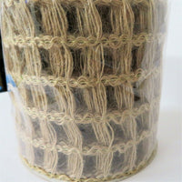 "NEW JUMBO ROLL BURLAP Wired Edge Ribbon w/ Square Holes 4"" x 30 FEET!"