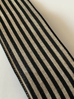 "5 Yds Of 2 1/2"" Wired Edge Black And Natural Cabana Stripe Faux Burlap Ribbon"