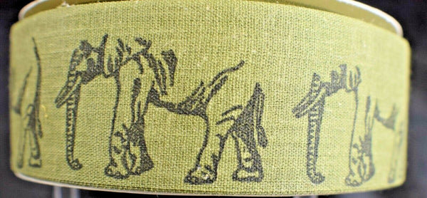 Ivory Olive Elephant Vintage WFR Fabric Ribbon Design 20 Yard Roll 1 3/8 wide