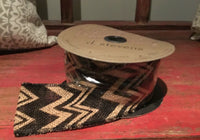 2.5 inch Wired Black Chevron Burlap Ribbon 10 yard roll
