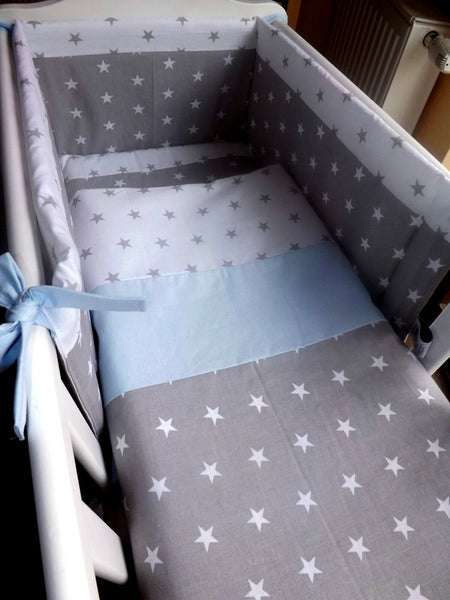 crib, cot bedding blue or pink and grey stars 100%cotton fabric made to order