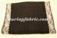 "Colored Burlap Table Runner 14"" x 72"" with 2"" WHITE Lace Borders"