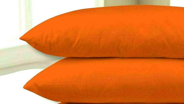 ZIPPED SATEEN PILLOW CASE 100 % COTTON 40x60cm COT JUNIOR BED ORANGE, PACK OF 2
