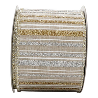2-1/2in 10YD Tri-color Glitter Stripes Burlap Ribbon for Gift, Floral, Craft Use